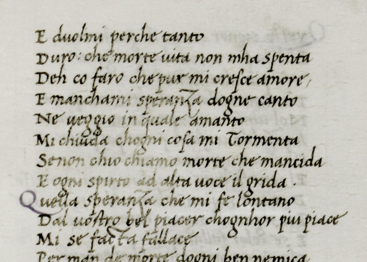 Manoscritto copiato da Bartolomeo San Vito, 1490 Circa. Bindo Bonichi, Dante e Senuccio del Bene, Canzoni - carta 65. Milano, Archivio Storico Civico e Biblioteca Trivulziana,