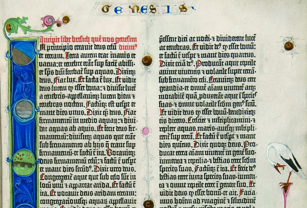 Pagina della bibbia stampata da Johannes Gutenberg intorno al 1454 con carattere gotico Textura.