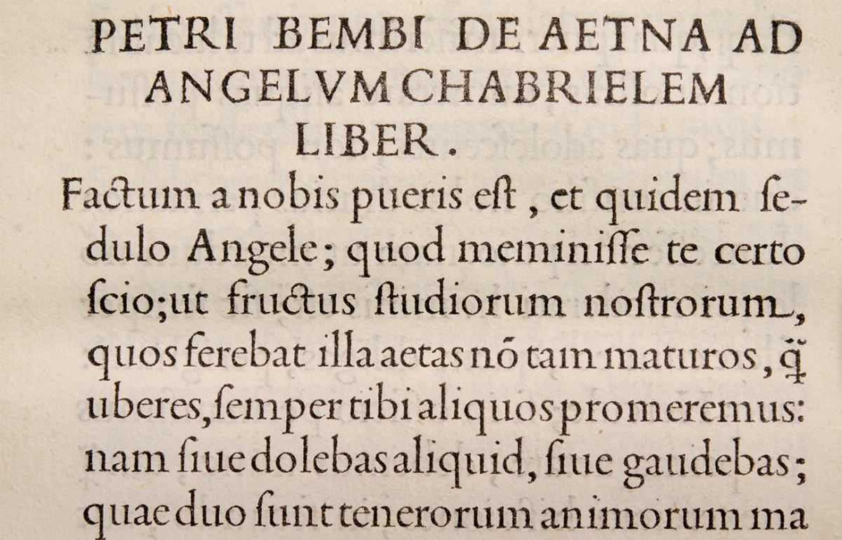 De Aetna. Aldus Manutius, Venice, 1496. Con caratteri di Griffo.